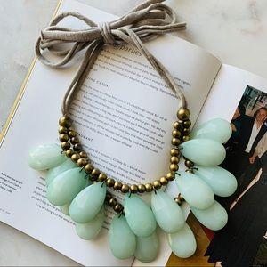 Anthropologie Tear Drop Bib Necklace Brass Green